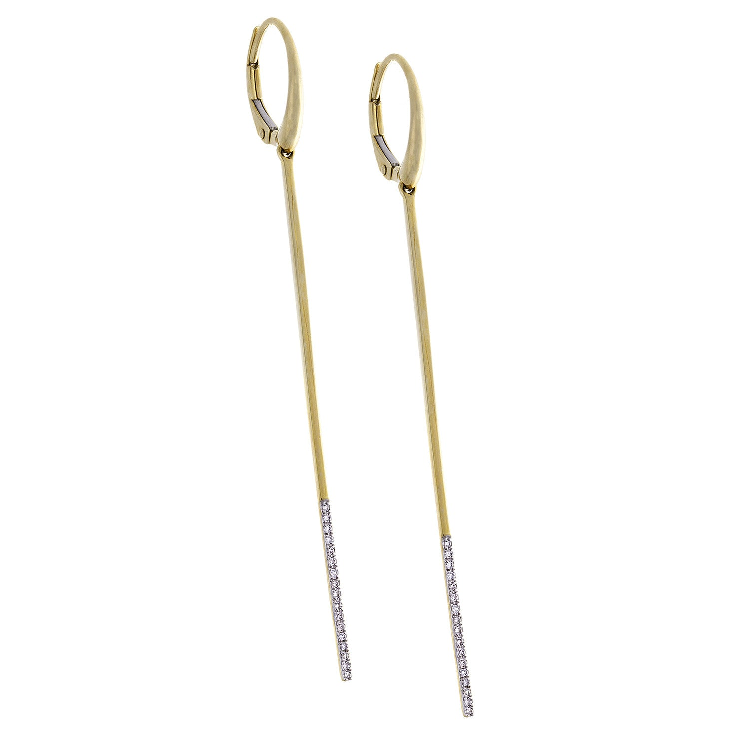 Diamond Pin Dangle Earrings & 14K Yellow Gold