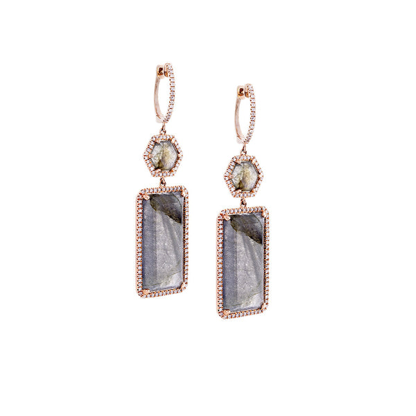 Labrodorite & Pavé Diamond 14K Rose Gold Drop Earrings - SOLD