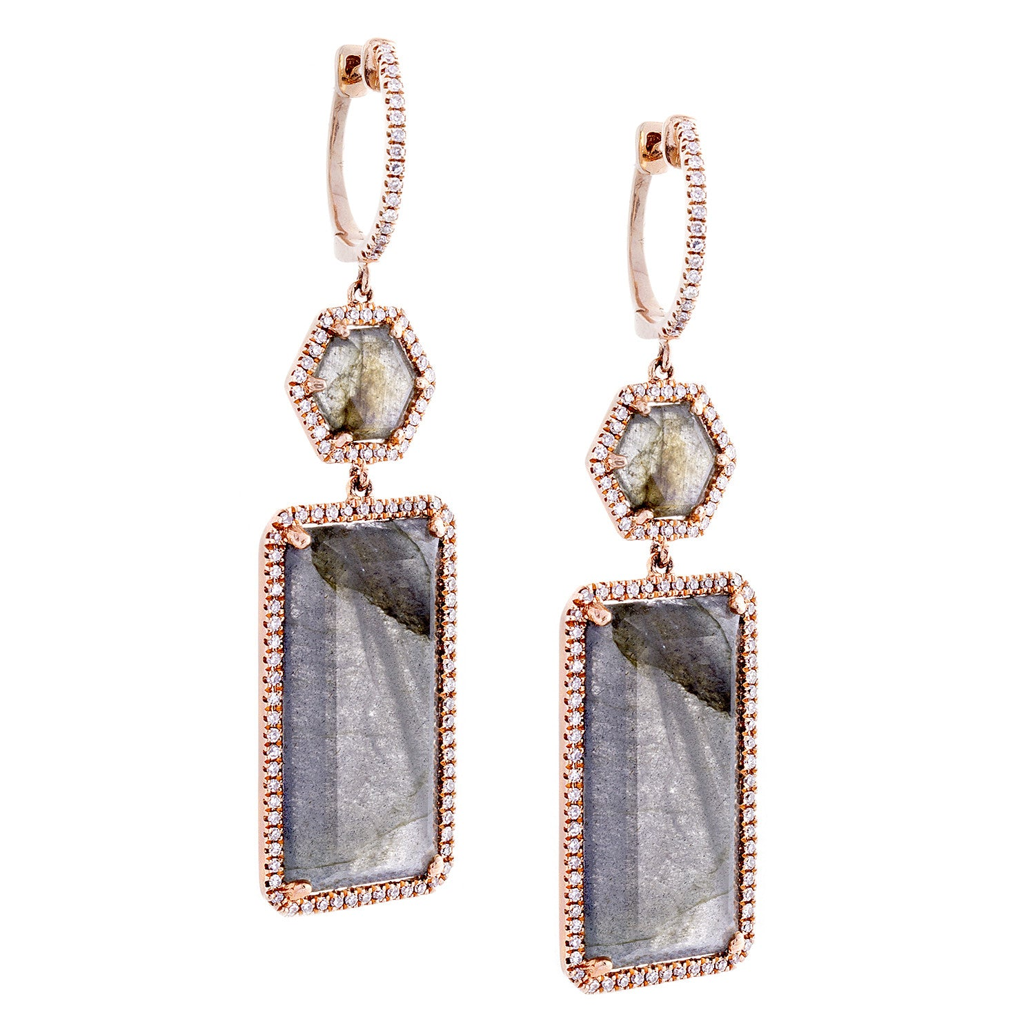 Labrodorite & Pavé Diamond 14K Rose Gold Drop Earrings - SOLD/CAN BE SPECIAL ORDERED WITH 4-6 WEEKS DELIVERY TIME FRAME