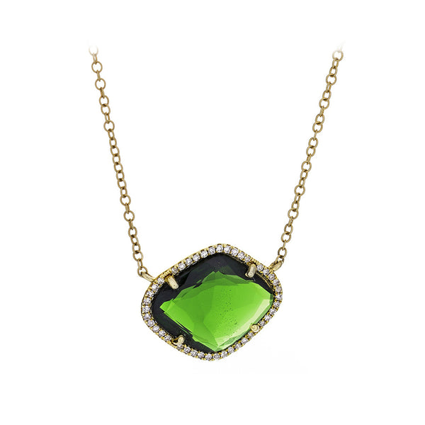 Tsavorite Garnet & Pave Diamonds Yellow Gold Necklace - SOLD
