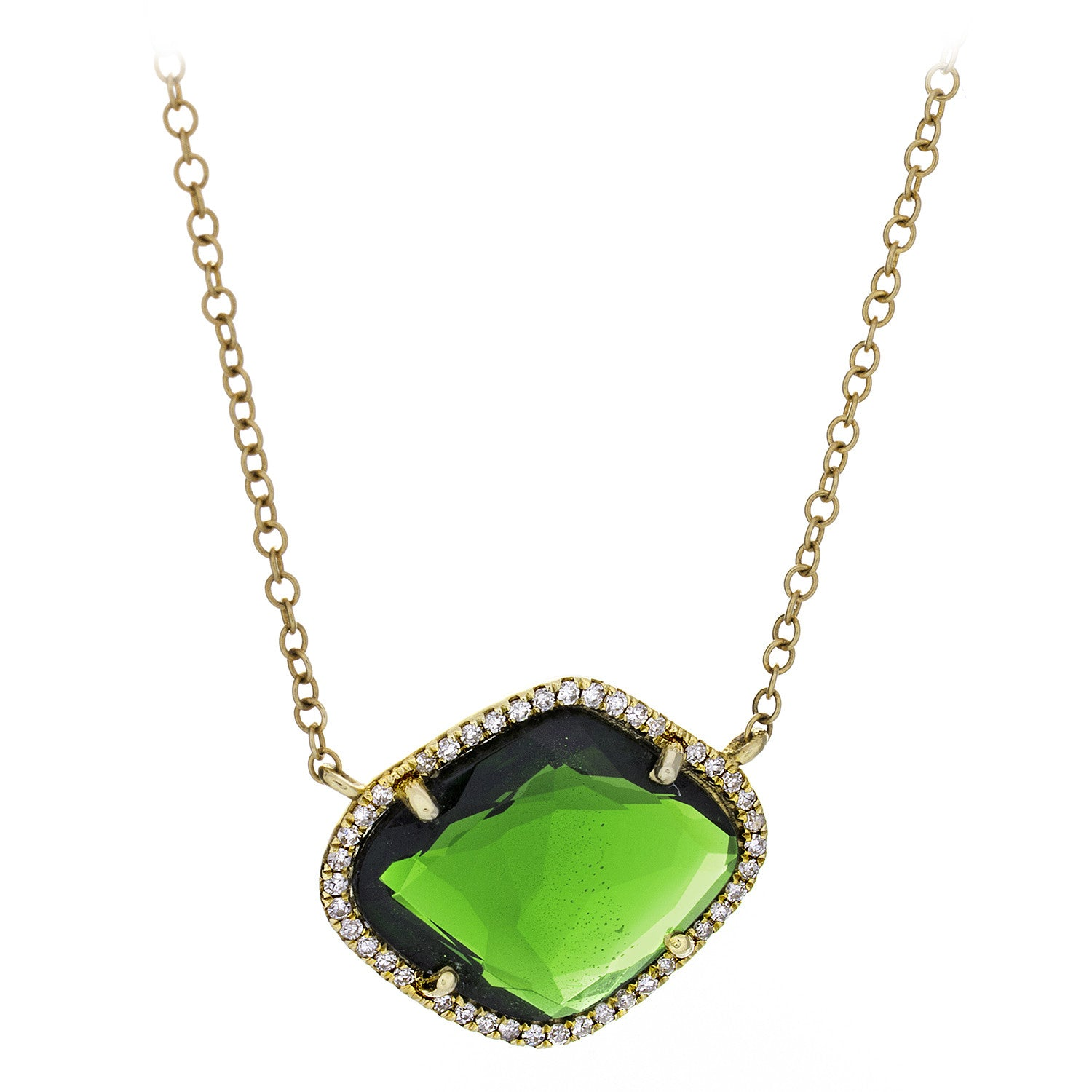 Tsavorite Garnet & Pave Diamonds Yellow Gold Necklace - SOLD/CAN BE SPECIAL ORDERED WITH 4-6 WEEKS DELIVERY TIME FRAME