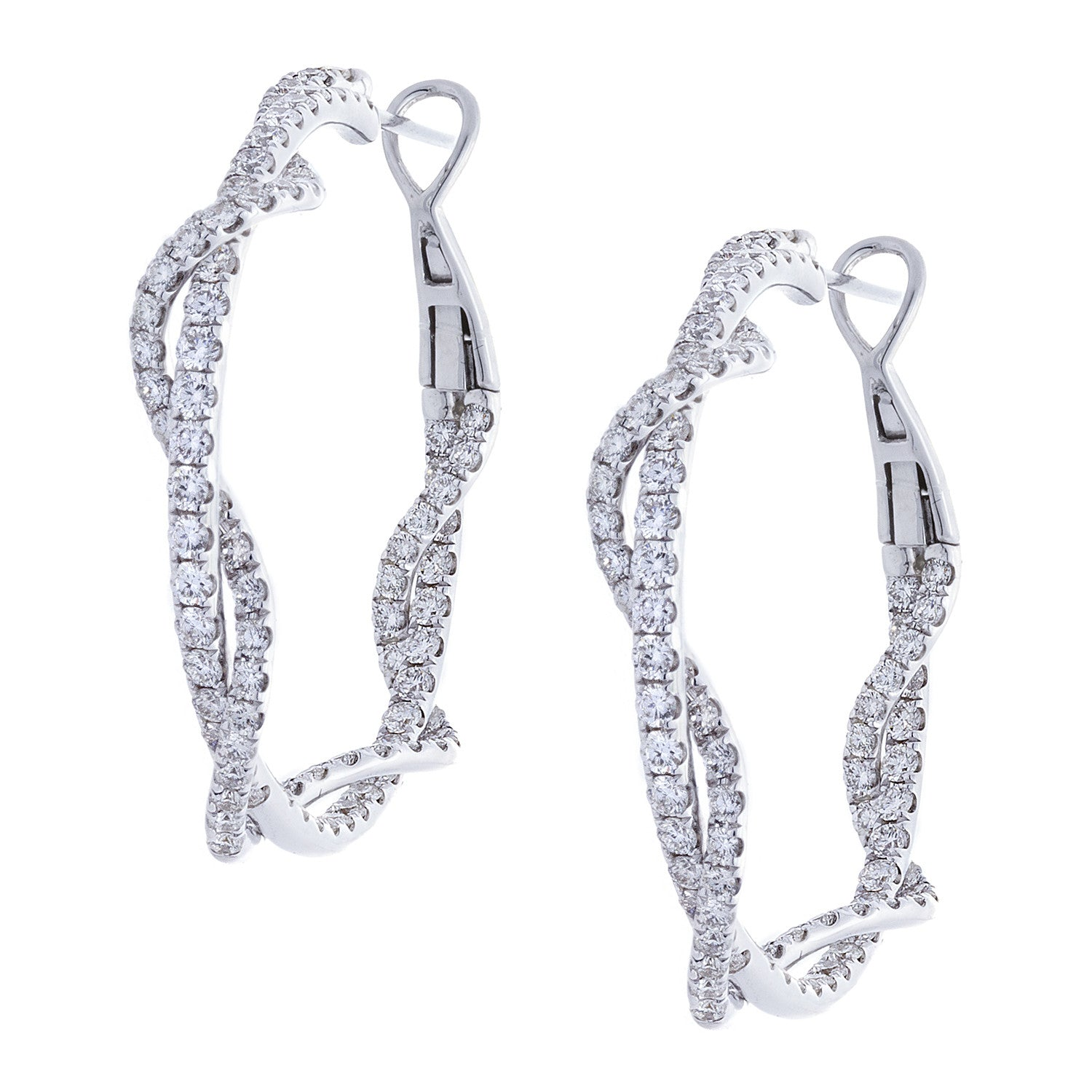 Diamonds & 18K White Gold Braid Hoop Earrings - SOLD/CAN BE SPECIAL ORDERED WITH 4-6 WEEKS DELIVERY TIME FRAME