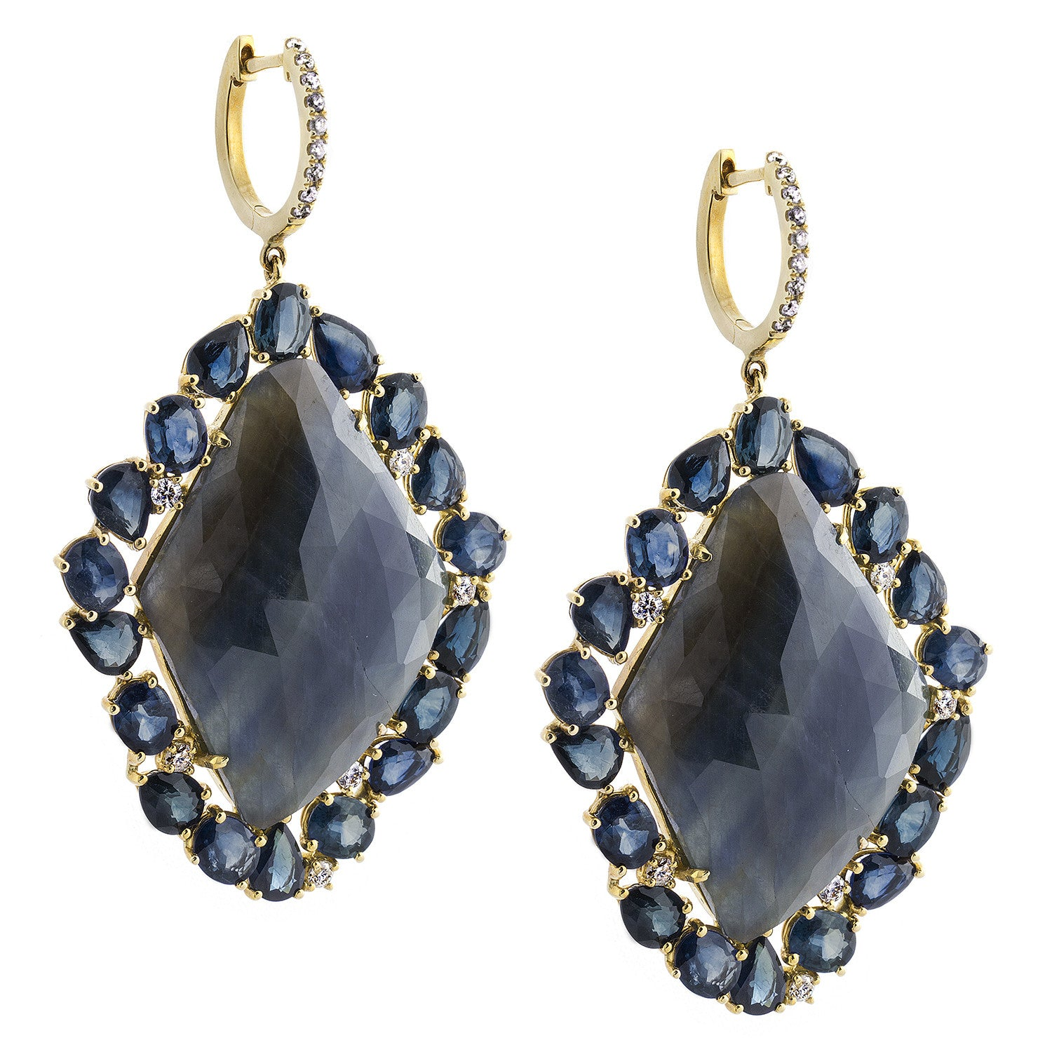 Dramatic Sapphire, Diamond & 18K Yellow Gold Earrings