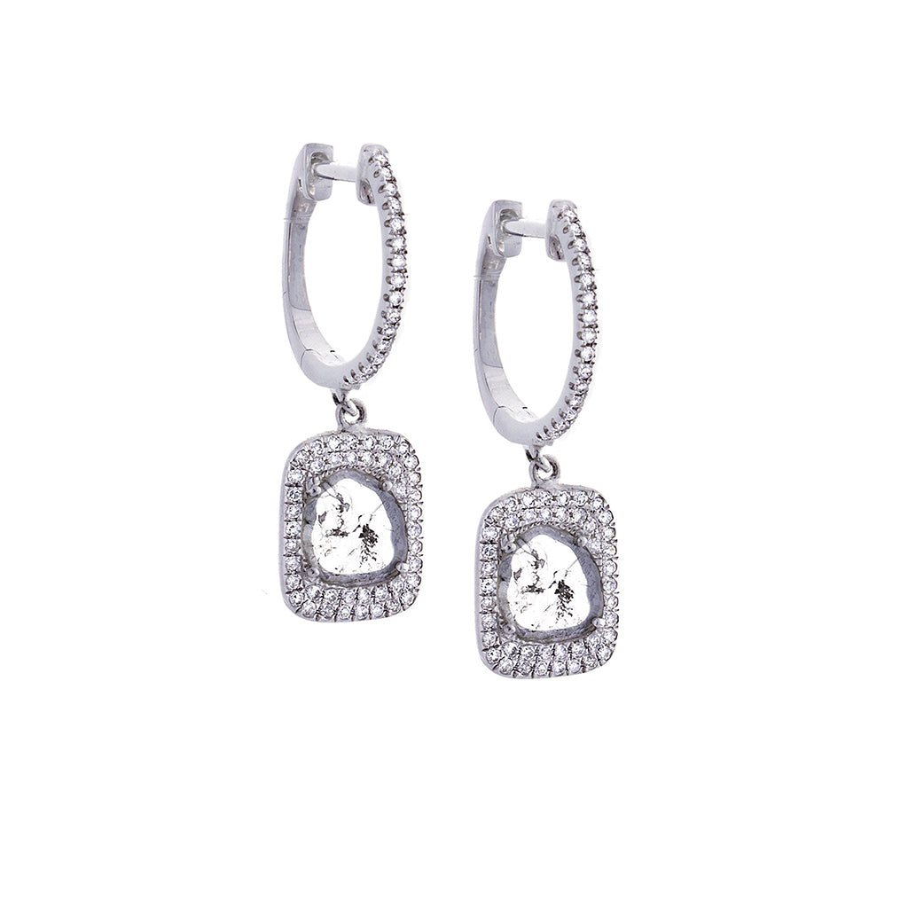 Sliced Diamond, Pavé & 14K White Gold Earrings- SOLD/CAN BE SPECIAL ORDERED WITH 4-6 WEEKS DELIVERY TIME FRAME