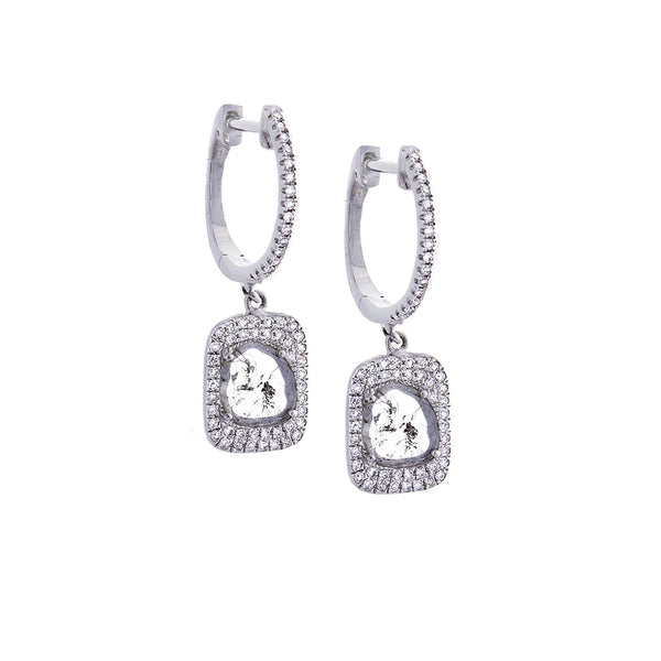 Sliced Diamond, Pavé & 14K White Gold Earrings