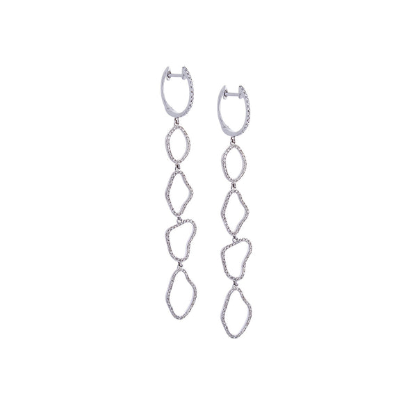 Diamond & 14K White Gold Organic Hoop Earrings - SOLD/CAN BE SPECIAL ORDERED WITH 4-6 WEEKS DELIVERY TIME FRAME