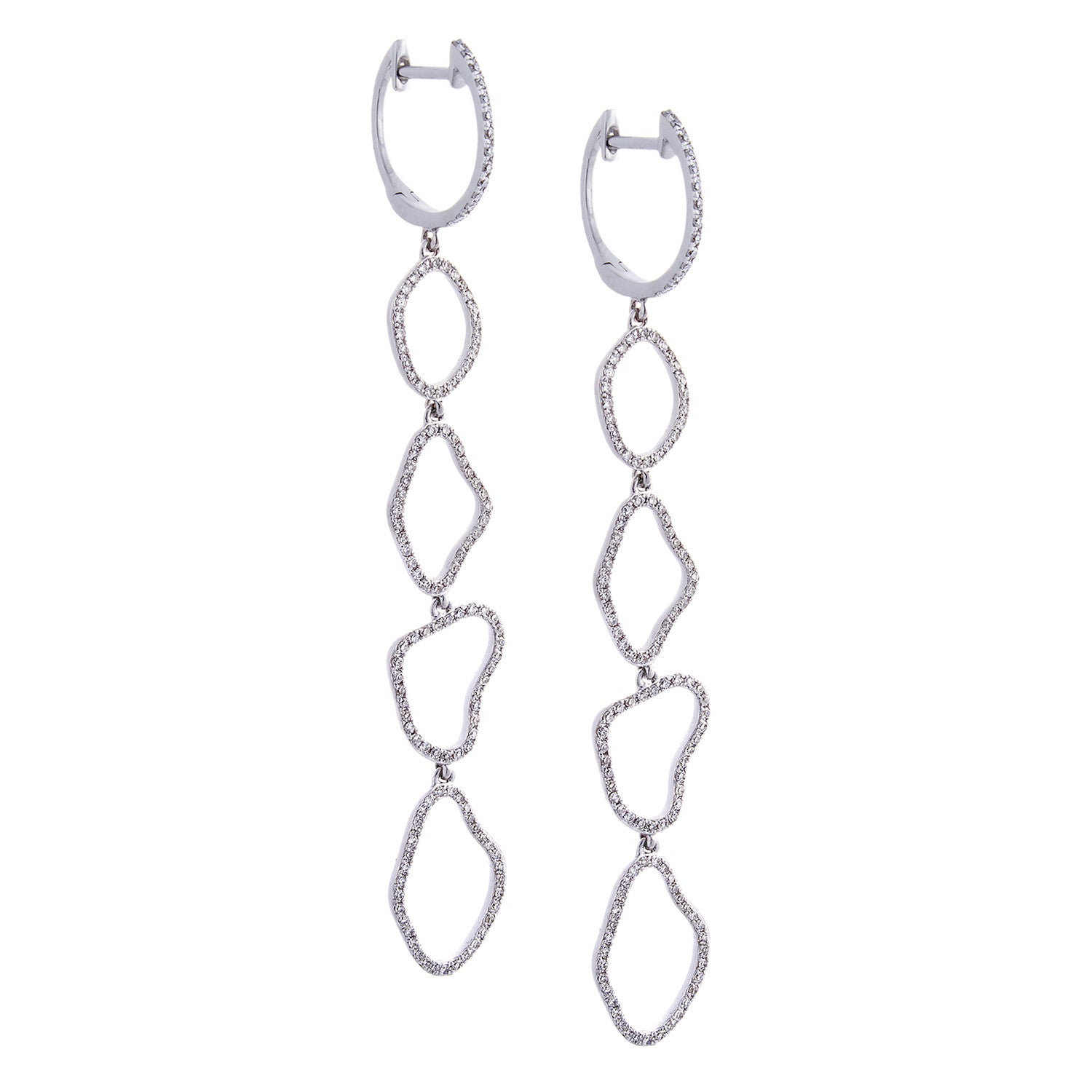 Diamond & 14K White Gold Organic Hoop Earrings