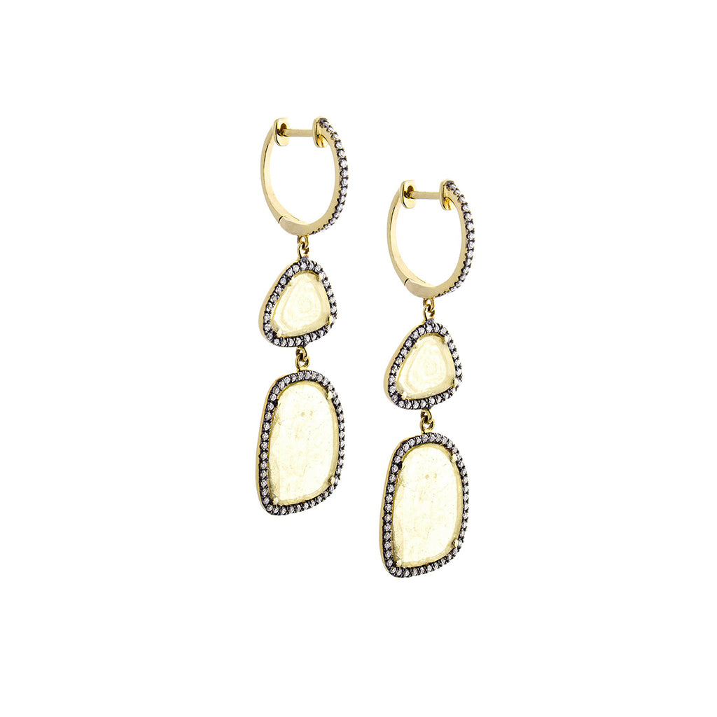 Warm Sliced Diamond, Pavé & 14K Yellow Gold Double Drop Earrings