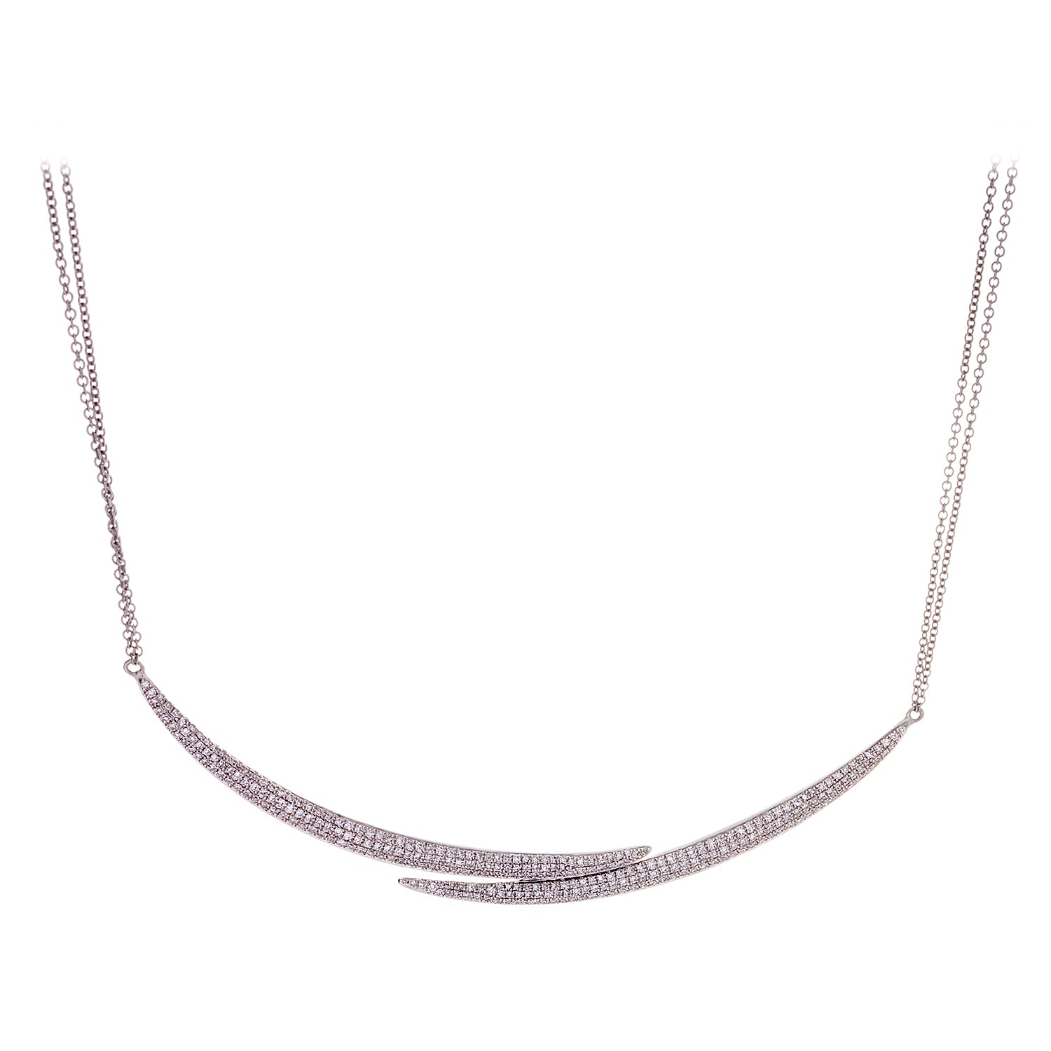 Double Half Moon Diamonds & 14K White Gold Necklace