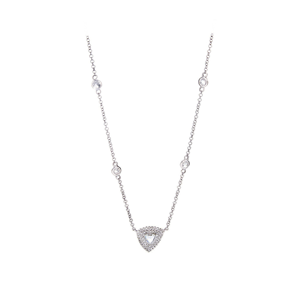 Rose Cut, Pave Diamondd & 14K White Gold Necklace - SOLD/CAN BE SPECIAL ORDERED WITH 4-6 WEEKS DELIVERY TIME FRAME