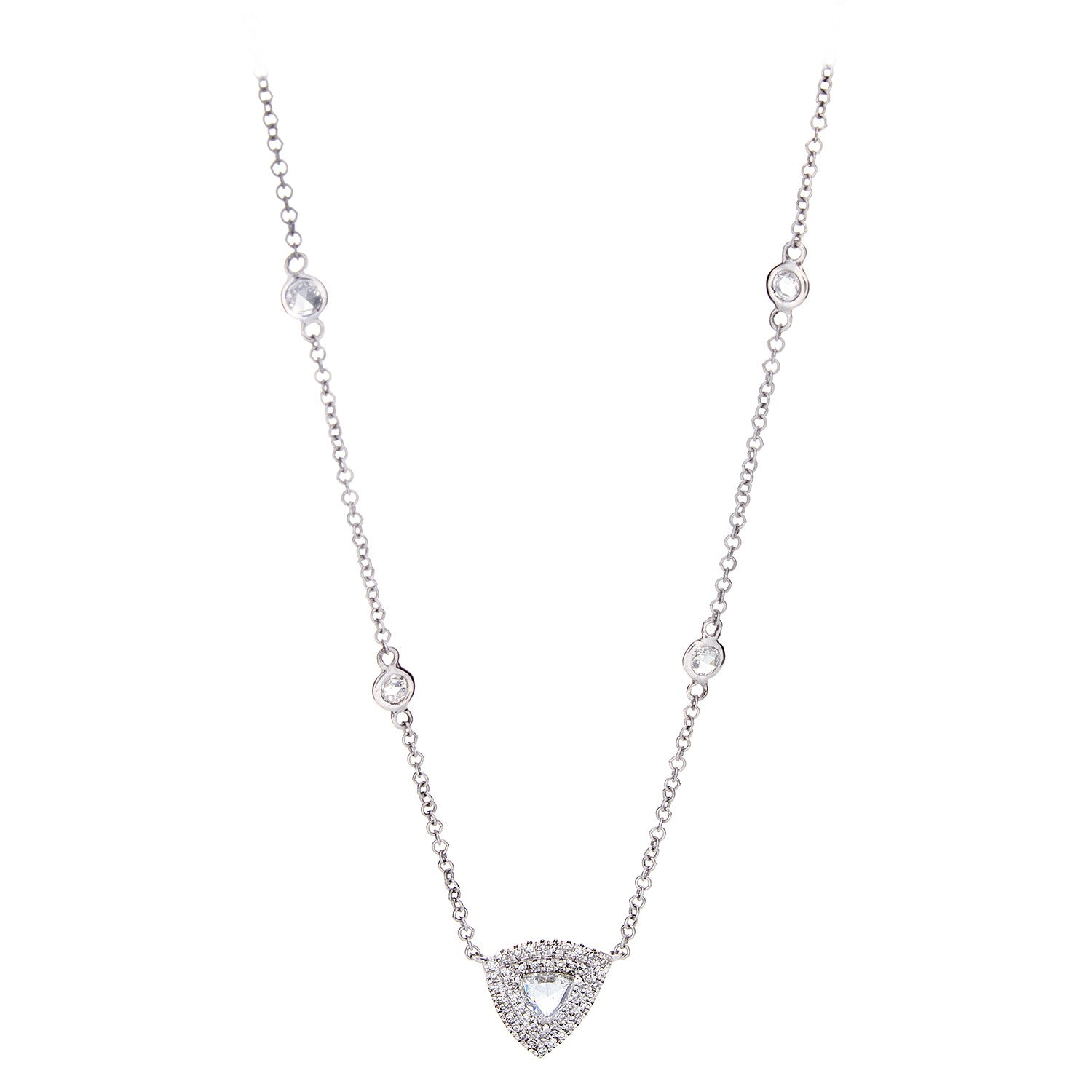 Rose Cut & Pave Diamond White Gold Necklace