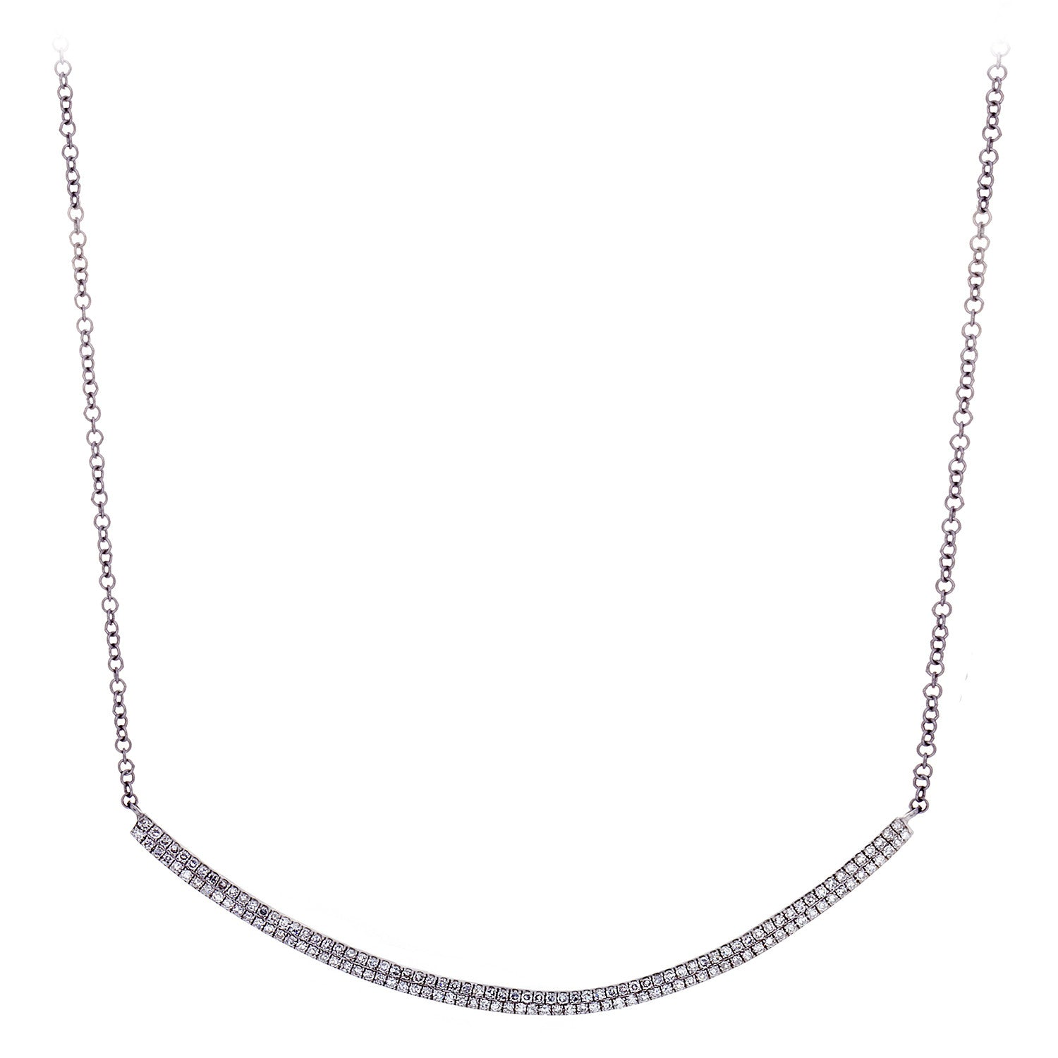 Diamond Pavé & 14K White Gold Curved Bar Necklace- SOLD/CAN BE SPECIAL ORDERED WITH 4-6 WEEKS DELIVERY TIME FRAME