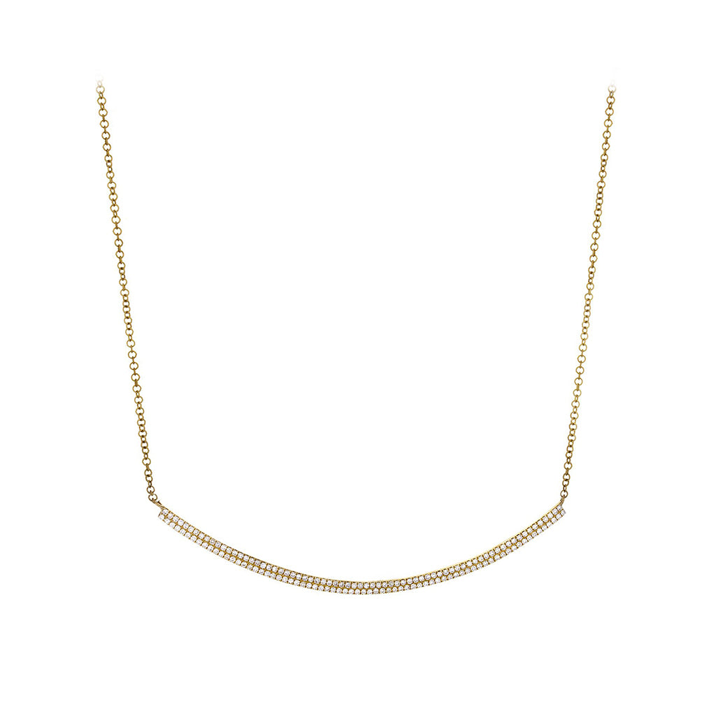 Diamond Pavé & 14K Yellow Gold Curved Bar Necklace - SOLD/CAN BE SPECIAL ORDERED WITH 4-6 WEEKS DELIVERY TIME FRAME