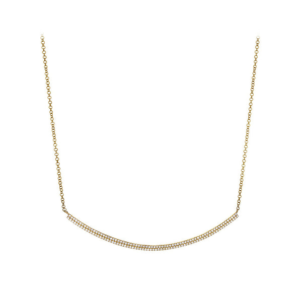 Diamond Pavé & 14K Yellow Gold Curved Bar Necklace