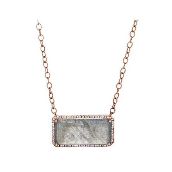 Labradorite, Pavé Diamonds & 14K Rose Gold Necklace