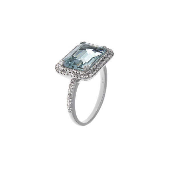 Pavé Diamond & Aquamarine 14K White Gold Ring