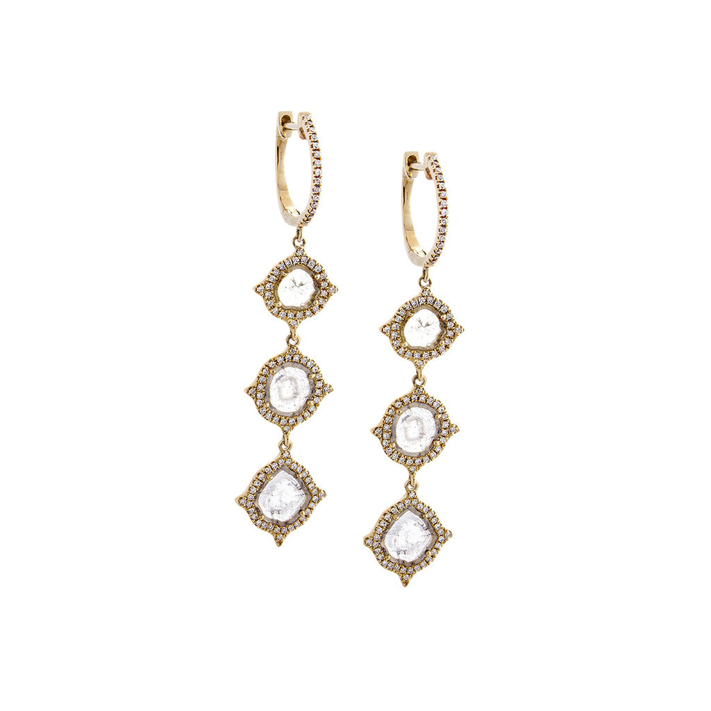 Sliced Diamond, Pavé & 14K Yellow Gold Triple Drop Earrings