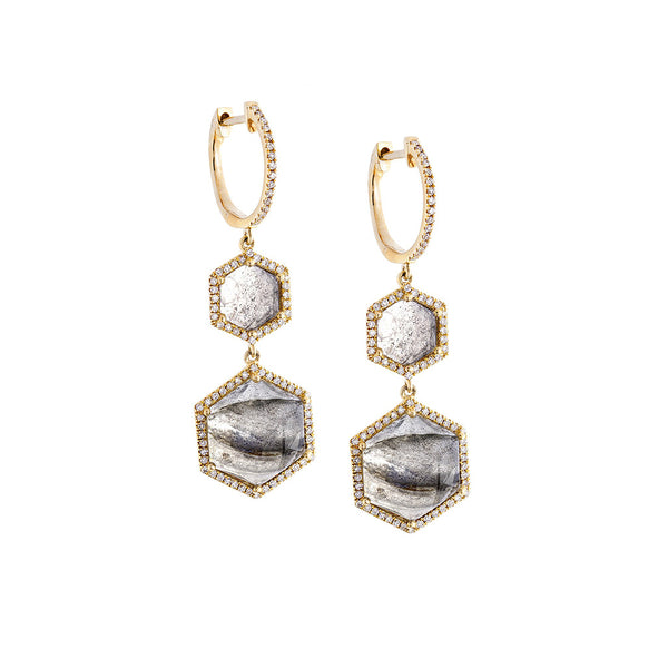 Labradorite, Pavé Diamond & 14K Yellow Gold Honeycomb Earrings - SOLD/CAN BE SPECIAL ORDERED WITH 4-6 WEEKS DELIVERY TIME FRAME