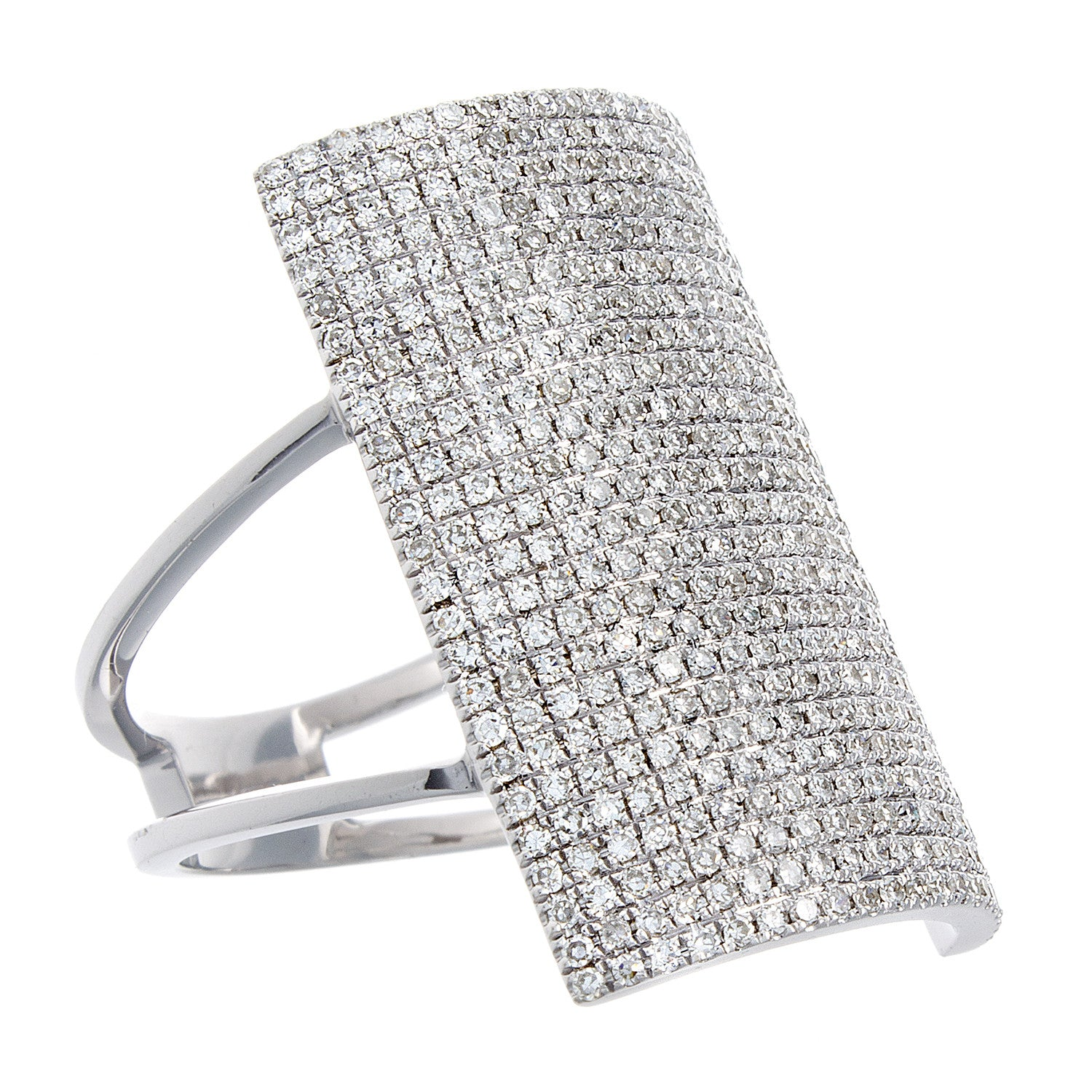 Diamond Pavé & 14K White Gold Shield Ring-SOLD/CAN BE SPECIAL ORDERED WITH 4-6 WEEKS DELIVERY TIME FRAME
