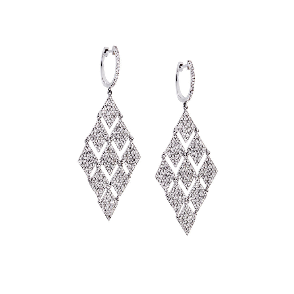 Diamond & 14K White Gold Rhomb Earrings