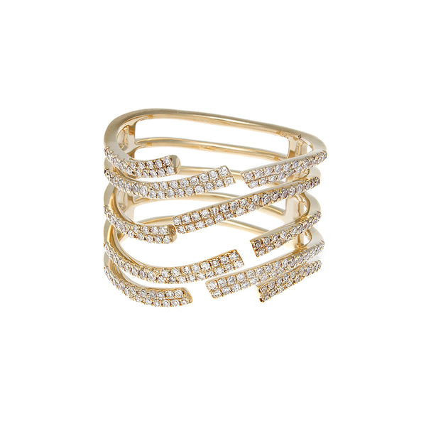 Diamond Pave Open Roads Yellow Gold Ring