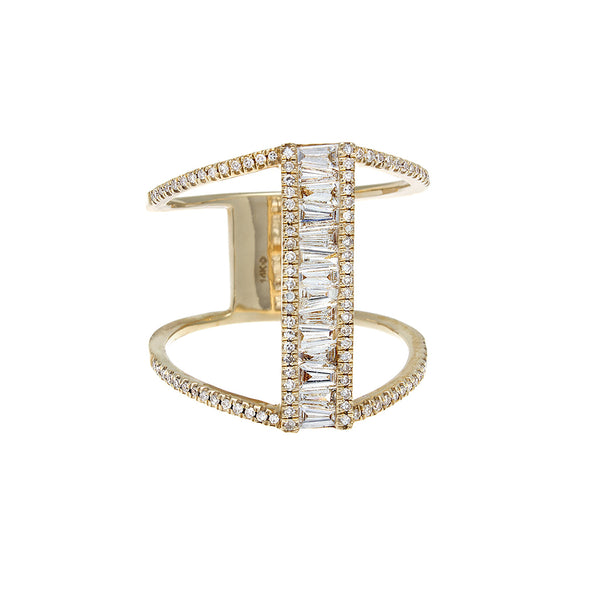 Baguette & Pavé Diamond 14K Yellow Gold Bar Ring- SOLD/CAN BE SPECIAL ORDERED WITH 4-6 WEEKS DELIVERY TIME FRAME
