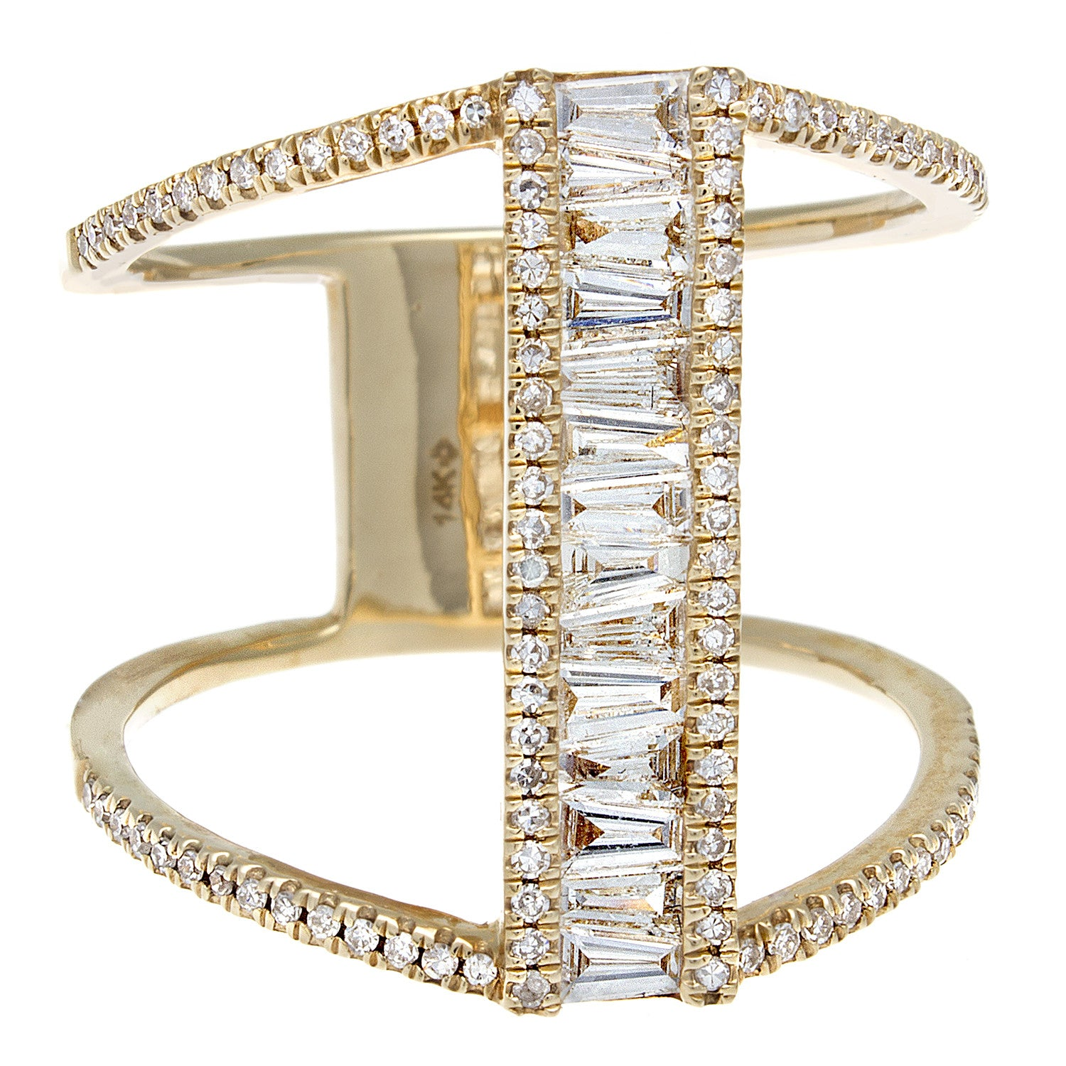 Baguette & Pavé Diamond 14K Yellow Gold Bar Ring