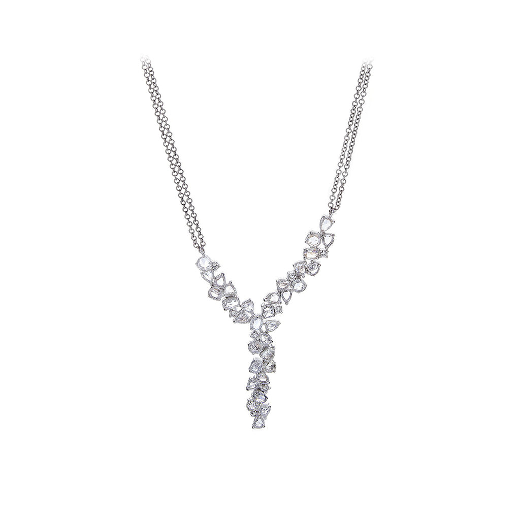 Diamonds & 14K White Gold Double Chain Lariat Necklace - SOLD