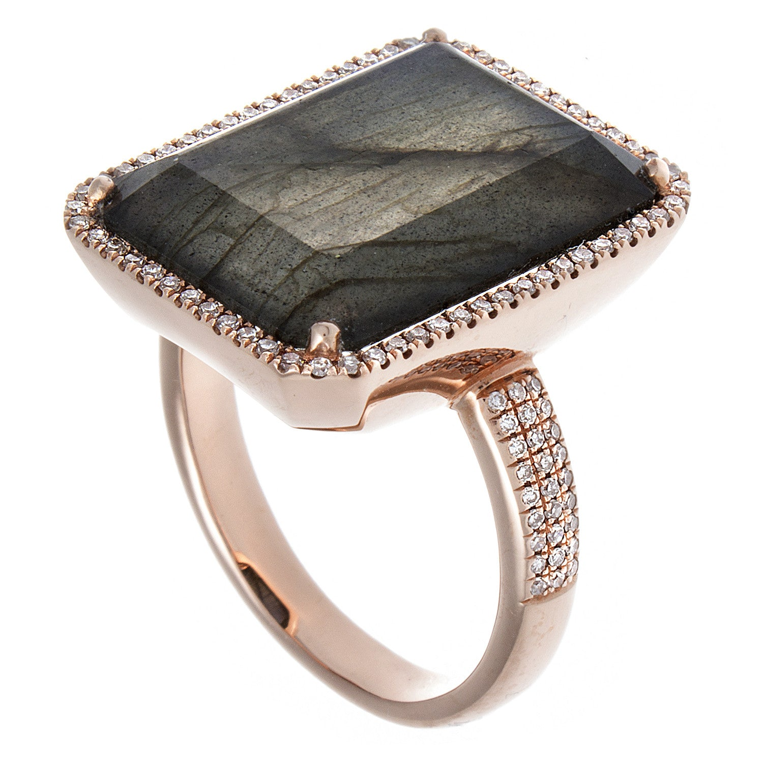 Labradorite, Diamond & 14K Rose Gold Cocktail Ring