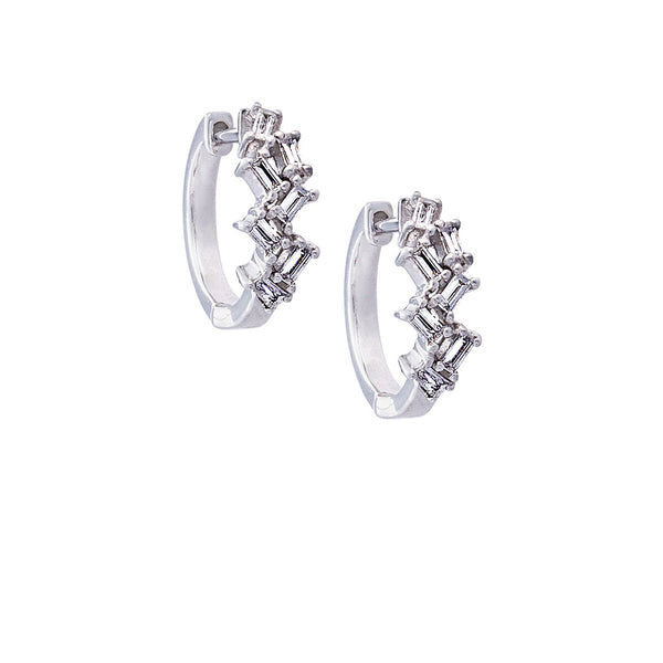 Baguette Diamond & 14K White Gold Cluster Hoop Earrings - SOLD/CAN BE SPECIAL ORDERED WITH 4-6 WEEKS DELIVERY TIME FRAME