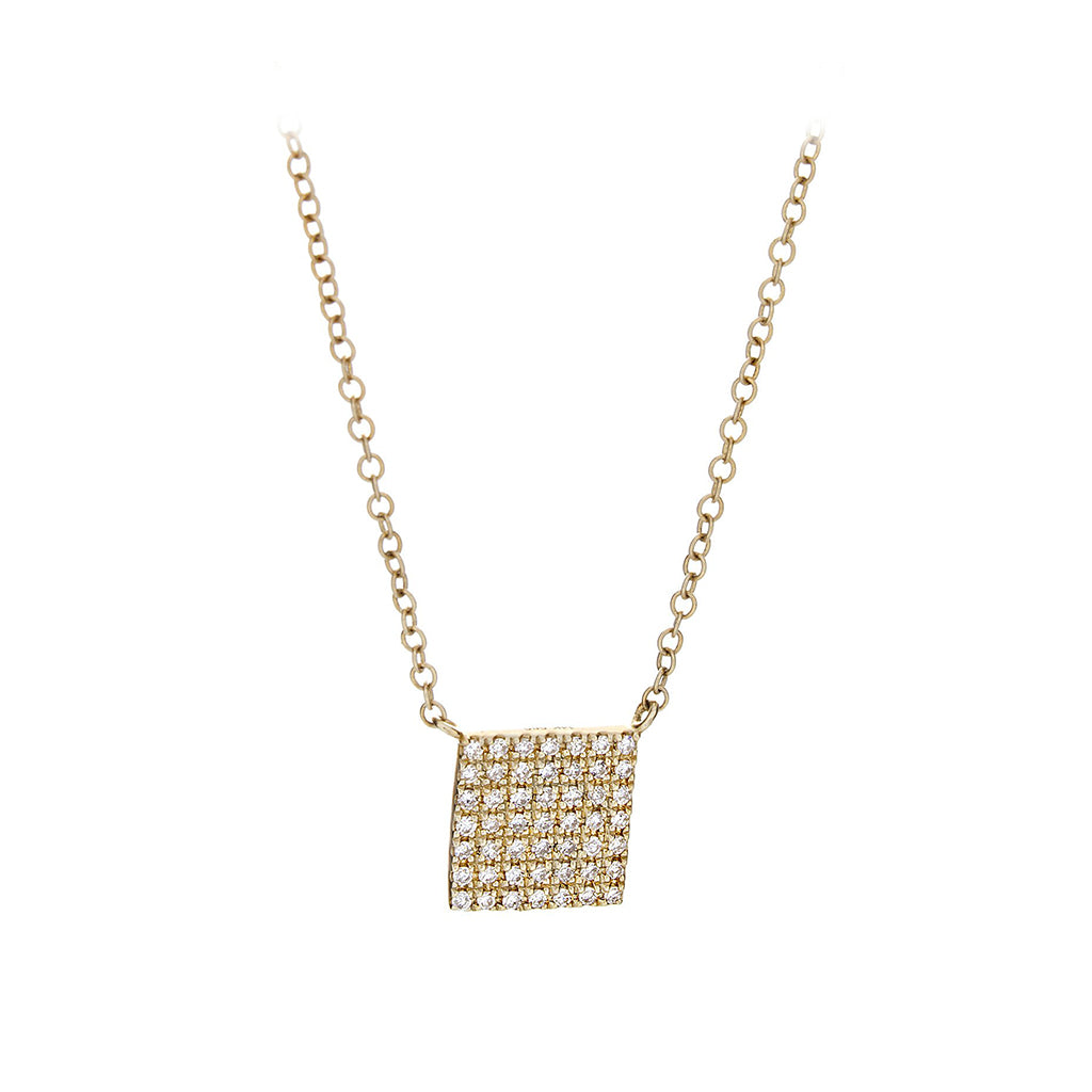 Diamond & 14K Yellow Gold Square Necklace - SOLD/CAN BE SPECIAL ORDERED WITH 4-6 WEEKS DELIVERY TIME FRAME