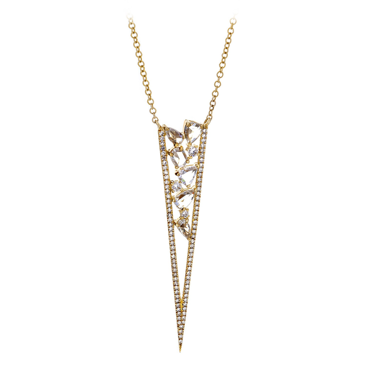 Rosecut Diamond, Pavé & 14K Yellow Gold Spike Necklace - SOLD/CAN BE SPECIAL ORDERED WITH 4-6 WEEKS DELIVERY TIME FRAME
