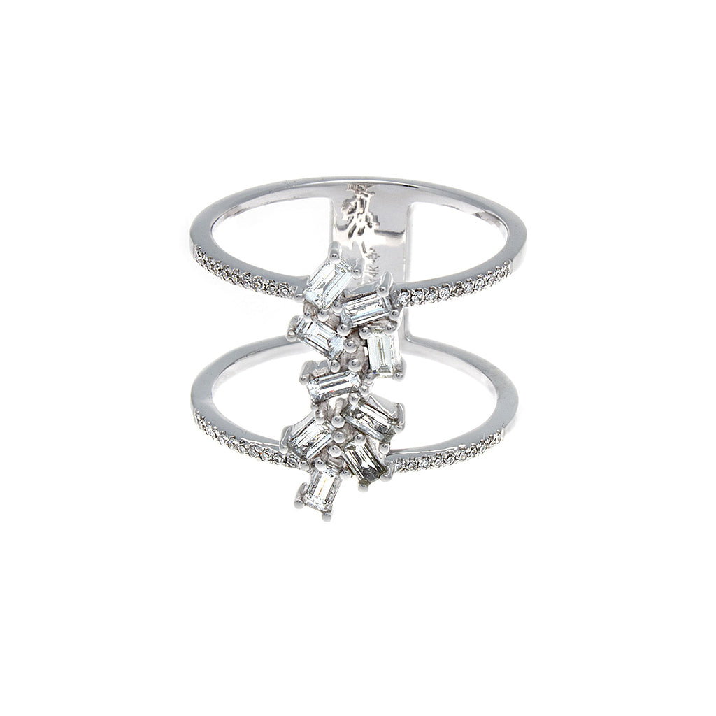 Baguette Diamond Double Band 14K White Gold Ring- SOLD/CAN BE SPECIAL ORDERED WITH 4-6 WEEKS DELIVERY TIME FRAME