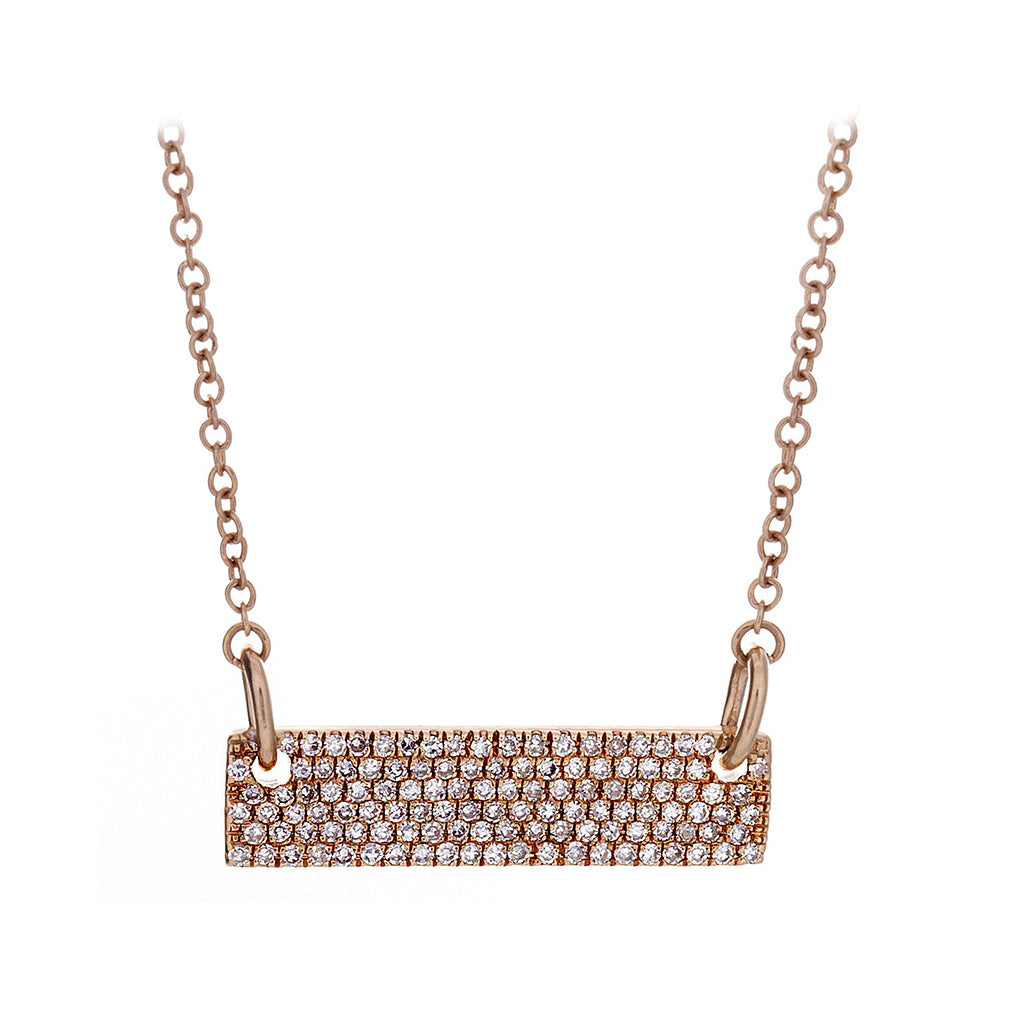 Diamond Pavé & 14K Rose Gold Bar Necklace