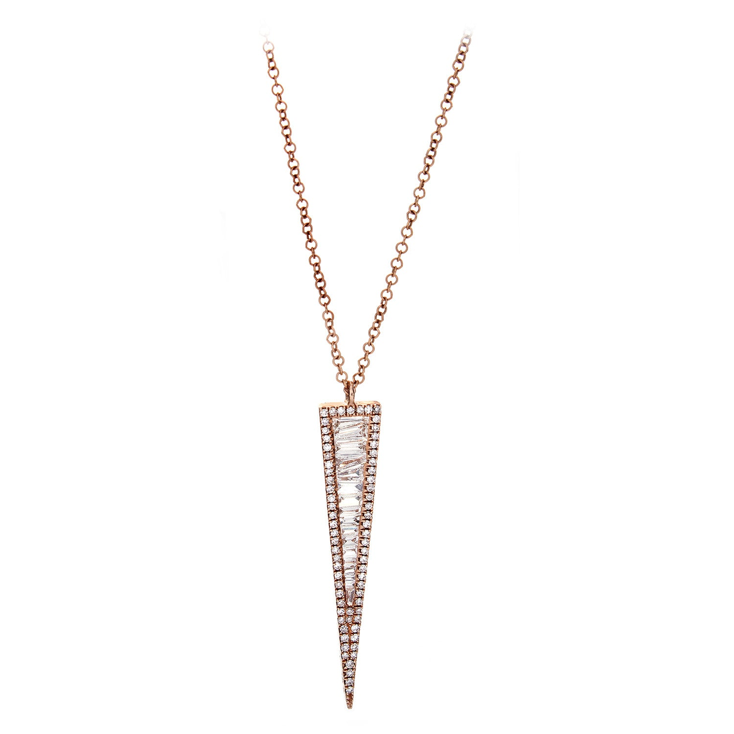 Diamond Baguette, Pavé & 14K Rose Gold Spike Pendant & Chain