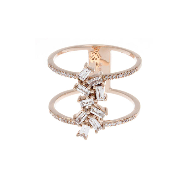 Baguette Diamond Double Band 14K Rose Gold Ring - SOLD/CAN BE SPECIAL ORDERED WITH 4-6 WEEKS DELIVERY TIME FRAME