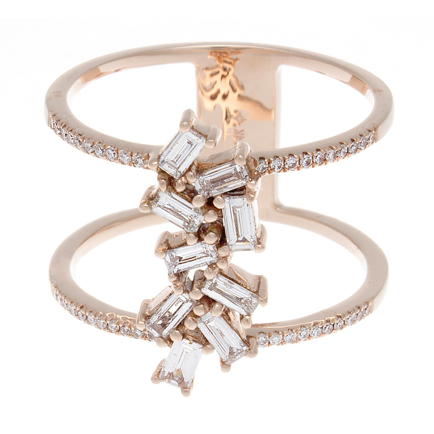 Baguette Diamond Double Band 14K Rose Gold Ring - SOLD