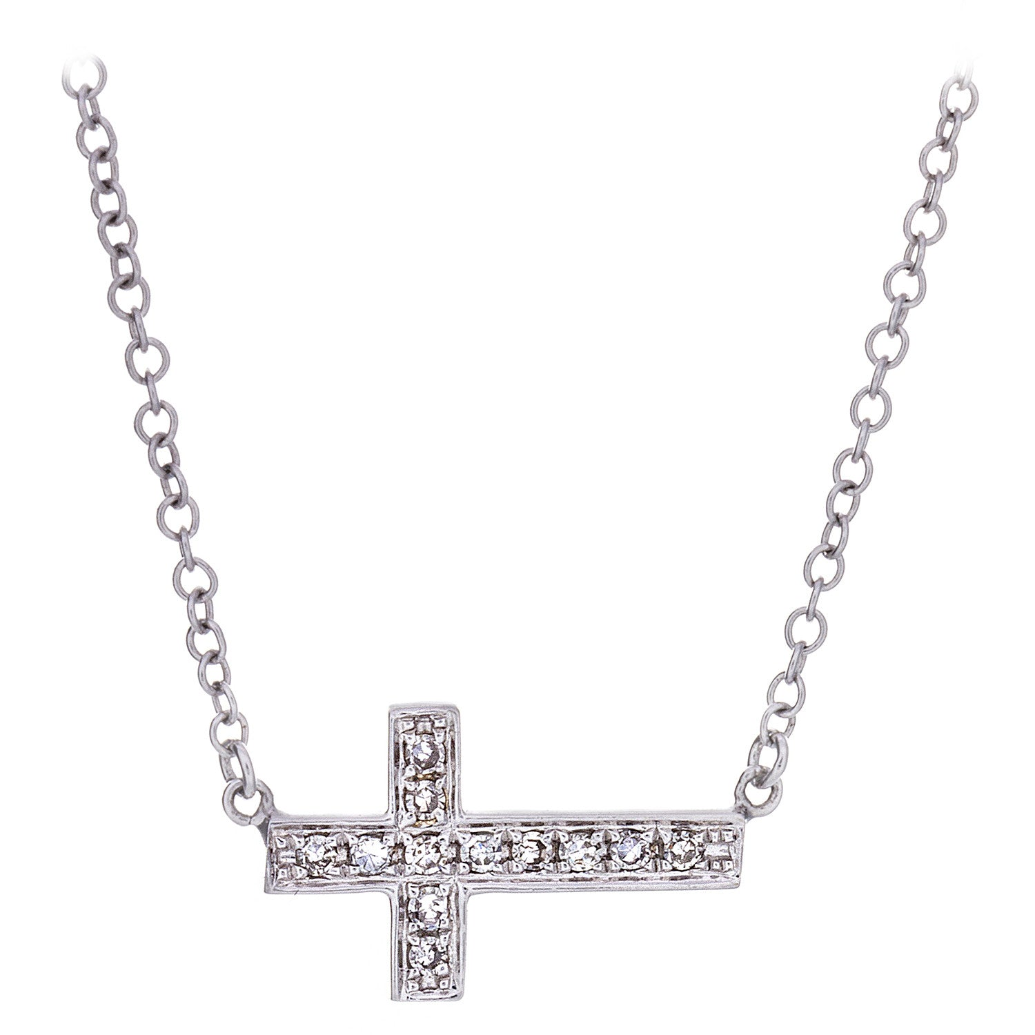 Diamond & 14K White Gold Horizontal Cross Necklace