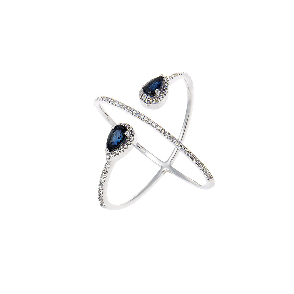 Pavé Diamond & Sapphire 14K White Gold X Ring - SOLD/CAN BE SPECIAL ORDERED WITH 4-6 WEEKS DELIVERY TIME FRAME