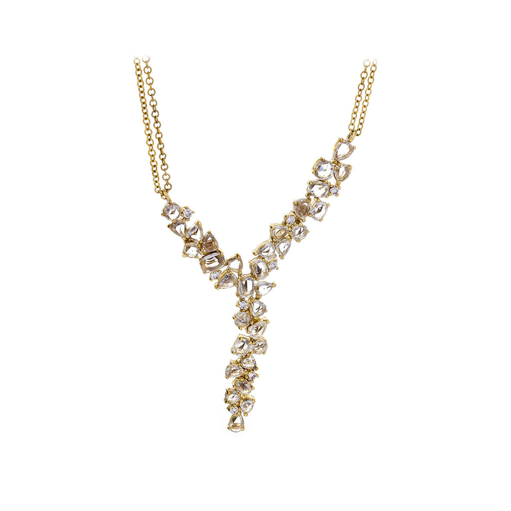 Diamonds & 14K Yellow Gold Double Chain Lariat Necklace