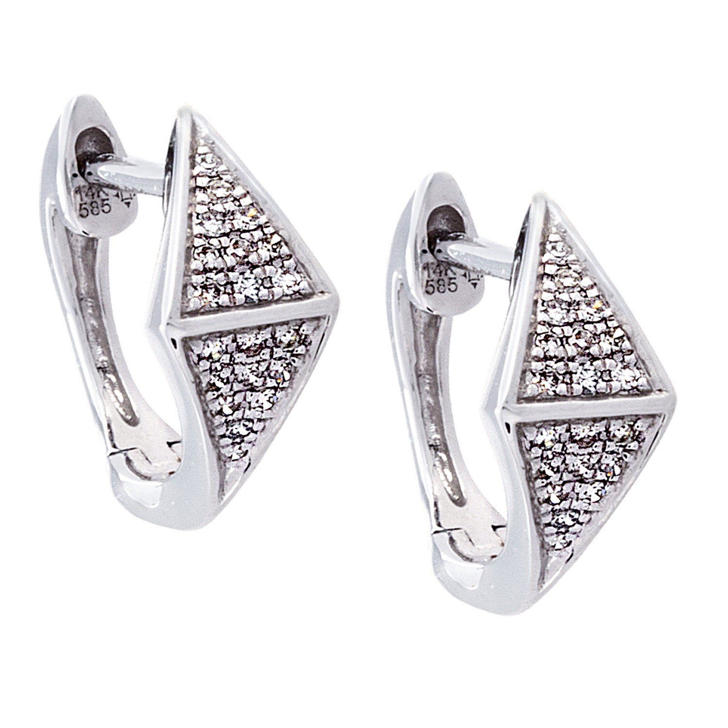 Diamond & 14K White Gold Triangle Earrings