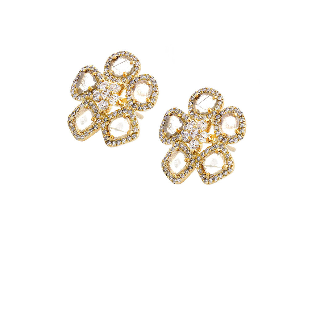 Diamond & 14K Yellow Gold Daisy Earrings - SOLD