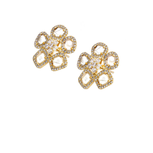 Diamond & 14K Yellow Gold Daisy Earrings - SOLD/CAN BE SPECIAL ORDERED WITH 4-6 WEEKS DELIVERY TIME FRAME