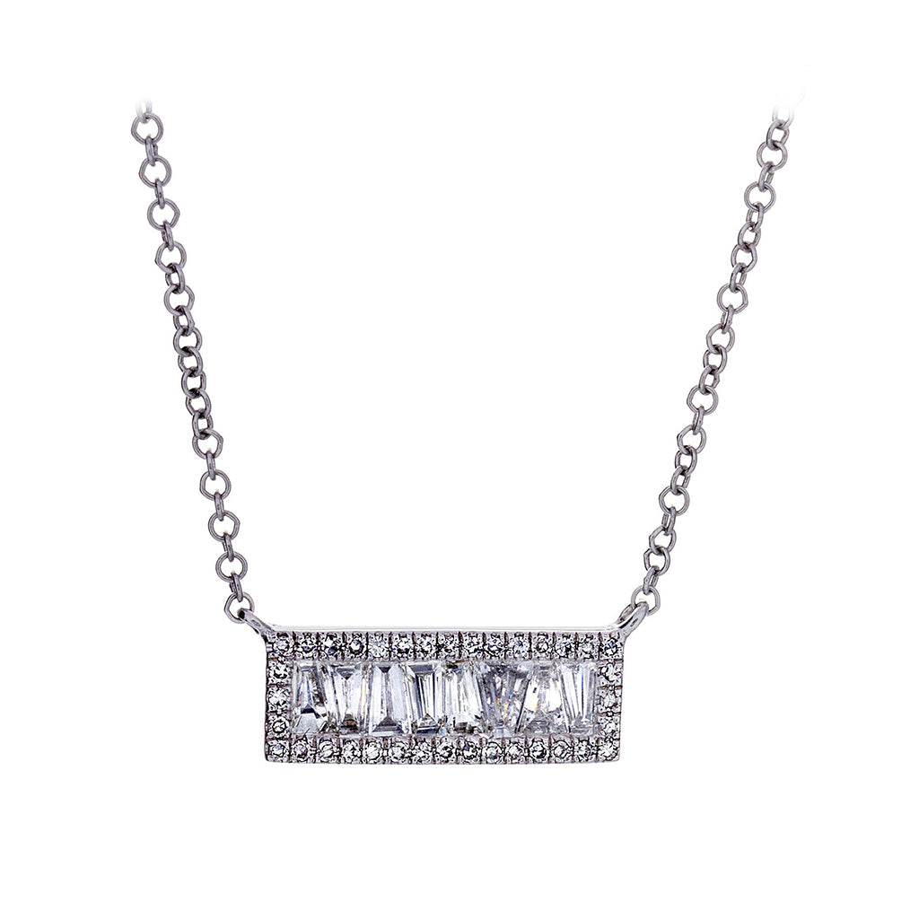Baguette & Pavé Diamond Bar 14K White Gold Necklace - SOLD/CAN BE SPECIAL ORDERED WITH 4-6 WEEKS DELIVERY TIME FRAME
