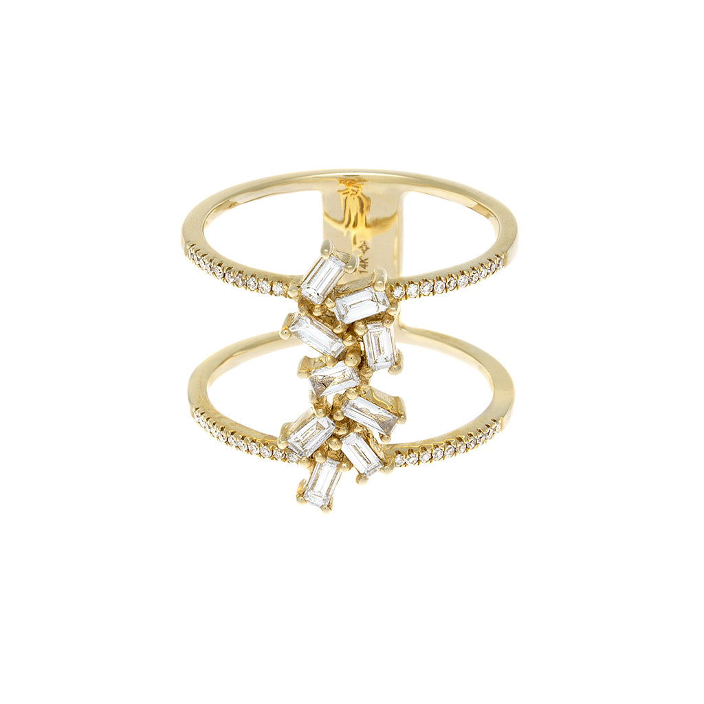 Baguette Diamond Double Band 14K Yellow Gold Ring - SOLD/CAN BE SPECIAL ORDERED WITH 4-6 WEEKS DELIVERY TIME FRAME