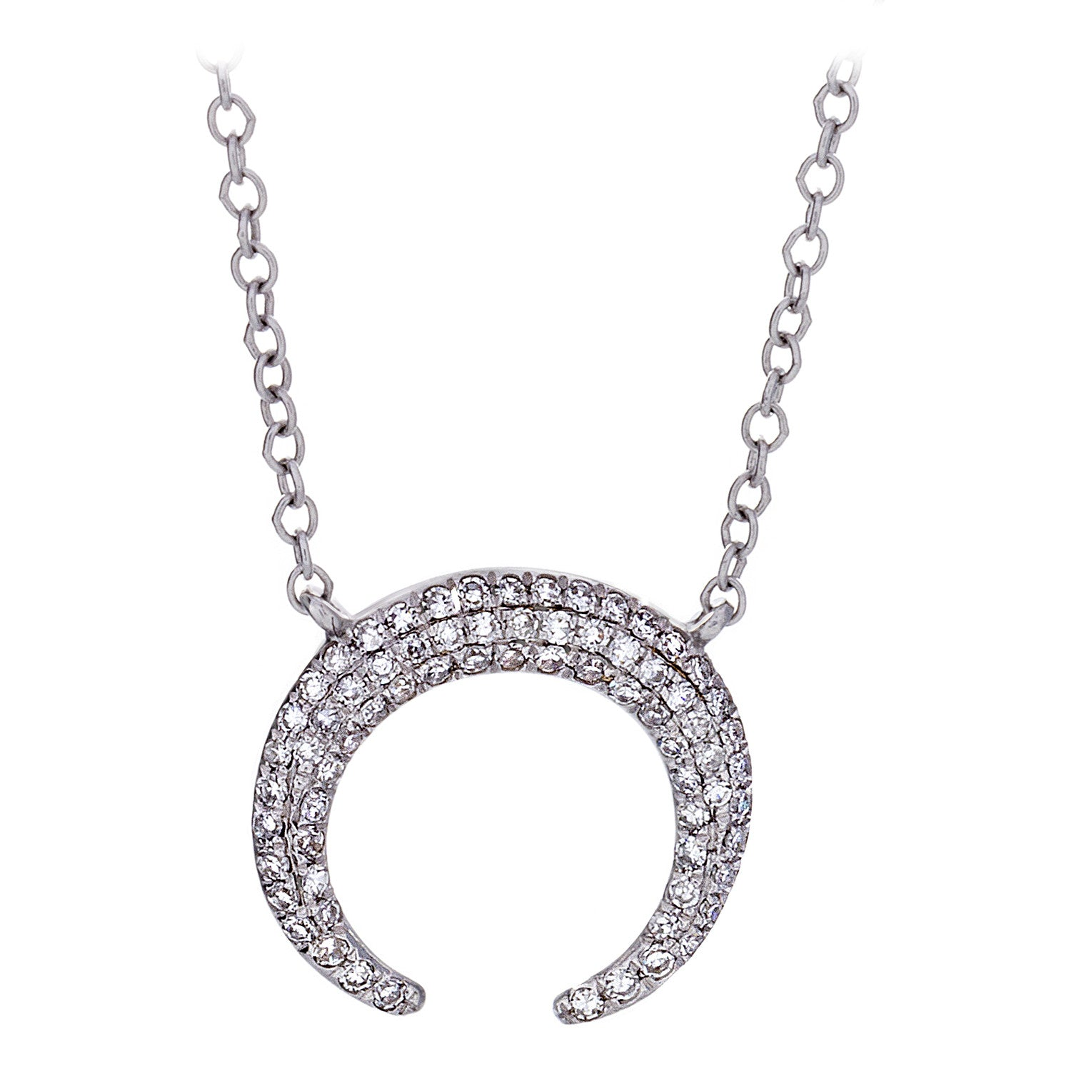 Diamond Pavé & 14K White Gold Crescent Necklace