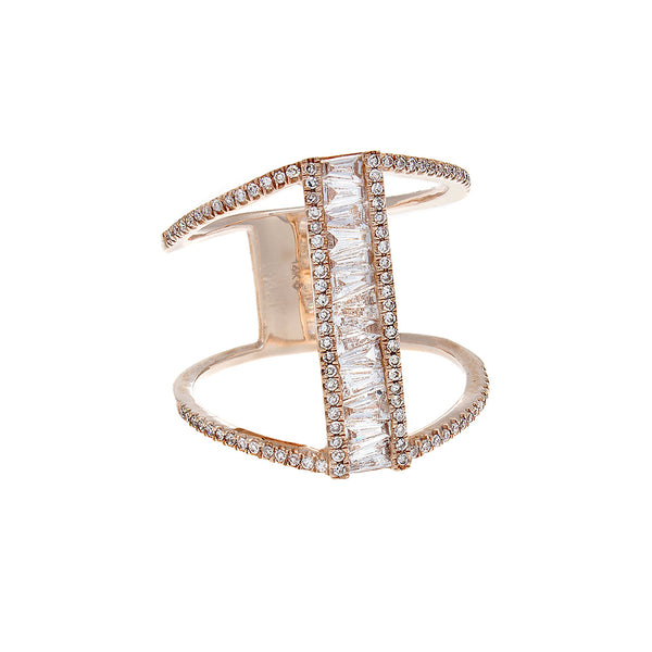 Baguette & Pavé Diamond 14K Rose Gold Bar Ring- SOLD/CAN BE SPECIAL ORDERED WITH 4-6 WEEKS DELIVERY TIME FRAME