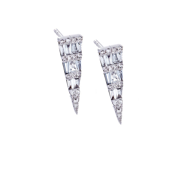 Diamond & 14K White Gold Spike Earrings-SOLD/CAN BE SPECIAL ORDERED WITH 4-6 WEEKS DELIVERY TIME FRAME