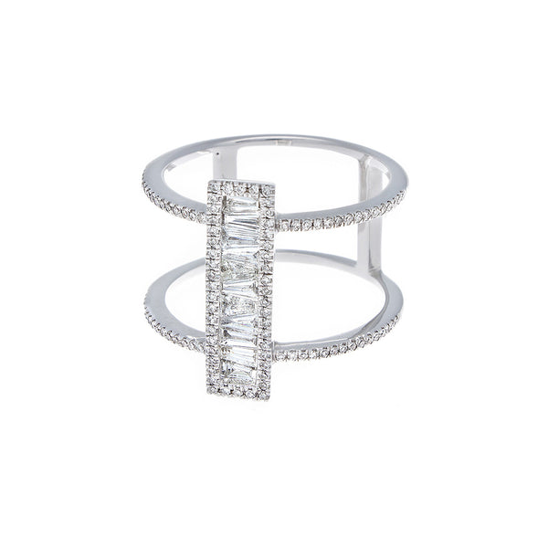 Baguette & Pavé Diamond 14K White Gold Ring- SOLD/CAN BE SPECIAL ORDERED WITH 4-6 WEEKS DELIVERY TIME FRAME