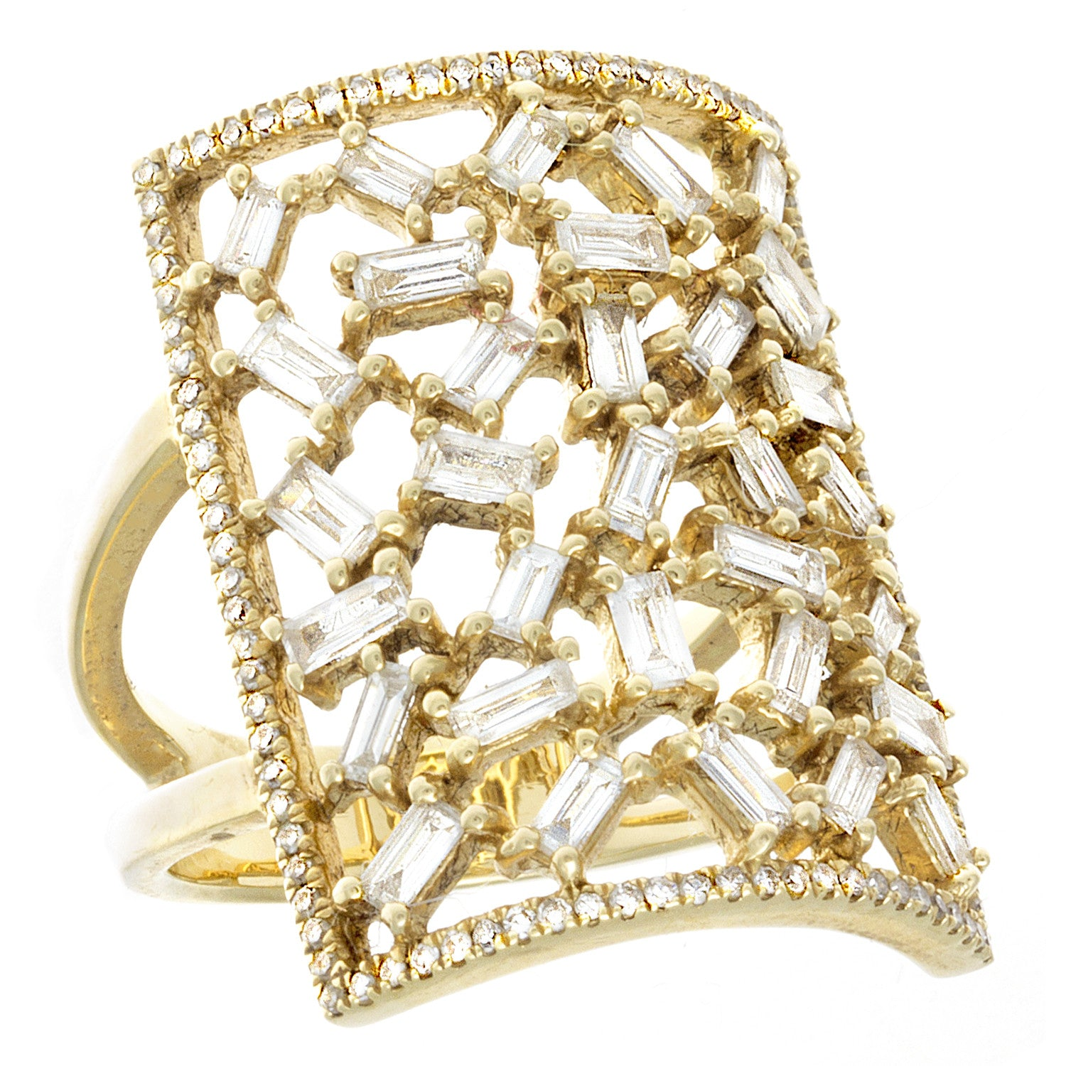 Baguette & Pavé Diamond 14K Yellow Gold Ring